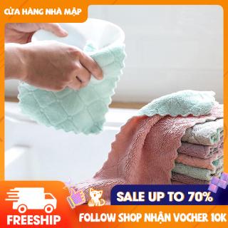 Sét 10 khăn lau 2 mặt siêu thấm- Khăn lau không phai màu không rụng sợi- nhanh khô- Khăn lau bếp, khăn lau kính, lau bát lau tay thumbnail