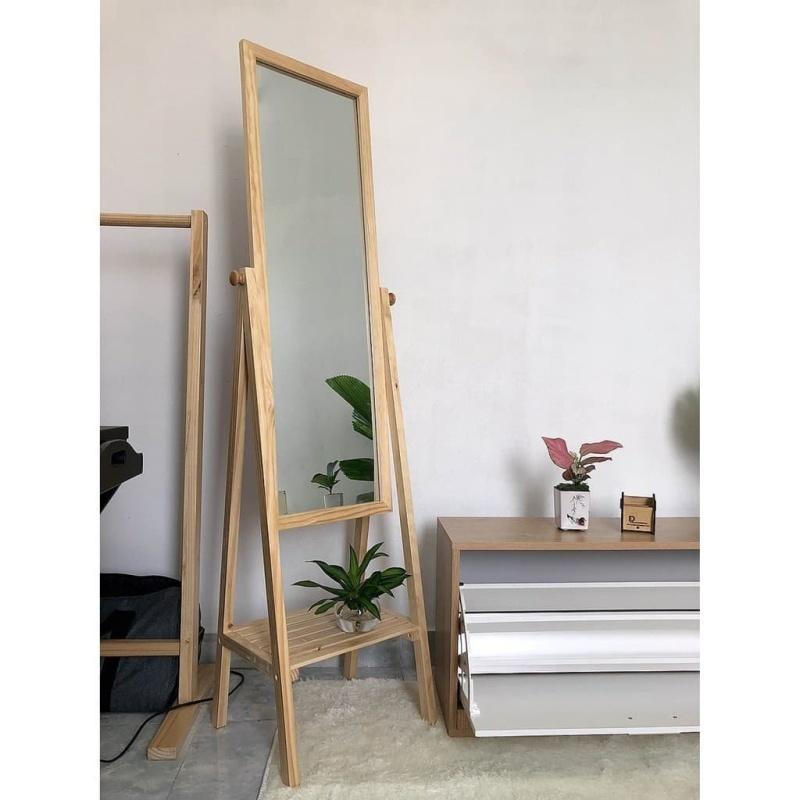 GƯƠNG GỖ ĐỨNG - GƯƠNG ĐỨNG SOI TOÀN THÂN KHUNG GỖ - KIẾNG SOI TOÀN THÂN - Gương decor - Gương gỗ mix kệ