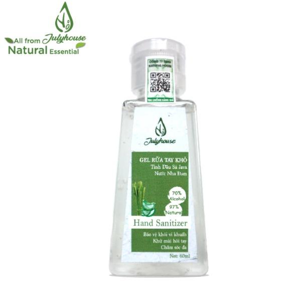 Gel rửa tay khô tinh dầu Sả và Nha Đam chai  60ml JULYHOUSE nhập khẩu