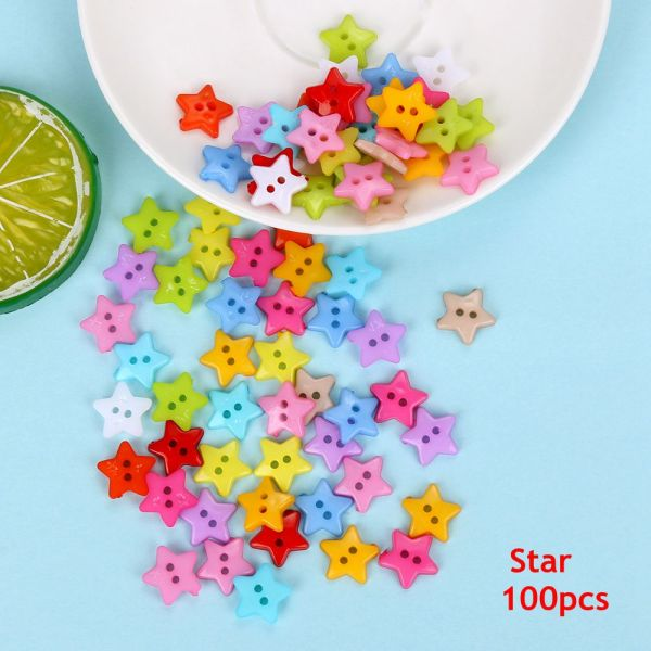 Mua 100pcs Kids DIY Star Picture Mixed Color Multi-Purpose Resin Button Plastic Craft Round
