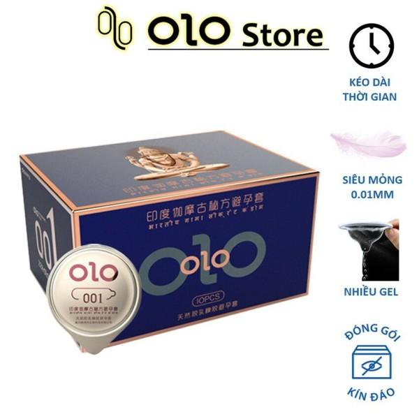 Bao cao su 0.01 OLO xanh, bao cao su siêu mỏng 0.01mm, kéo dài thời gian, mát lạnh bạc hà 10 bcs