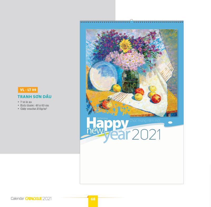 [LỊCH 2021] Lịch tường - LX 09 - 7 tờ Tranh sơn dầu (lò xo) 40x63cm
