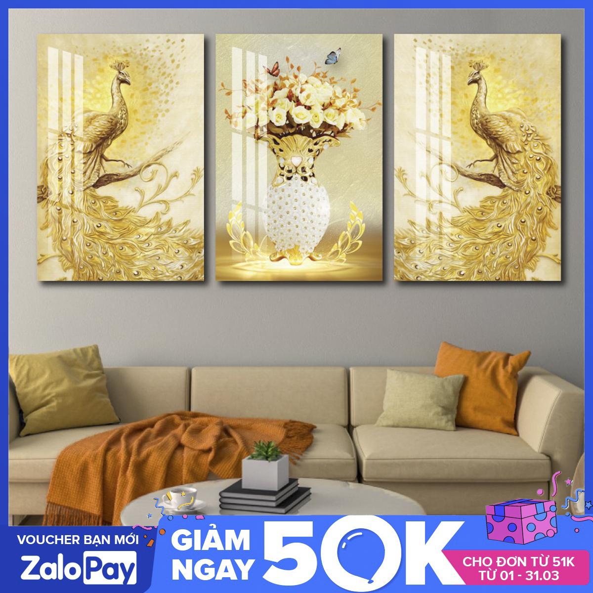 [Freeship] Tranh canvas treo tường khung gỗ cao cấp LaLaShop-Bộ 3 bức tranh treo tường Chim Công Vàng Khung Gỗ sang trọng-Tranh vải treo tường phòng khách 3d hiện đại tặng kèm đinh không cần khoan tường