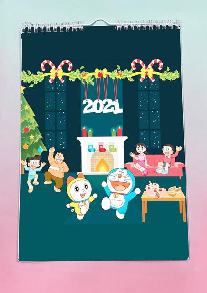 Lịch treo tường doremon 2021 A4 13 tờ LA4I14 Lịch treo tường dễ thương