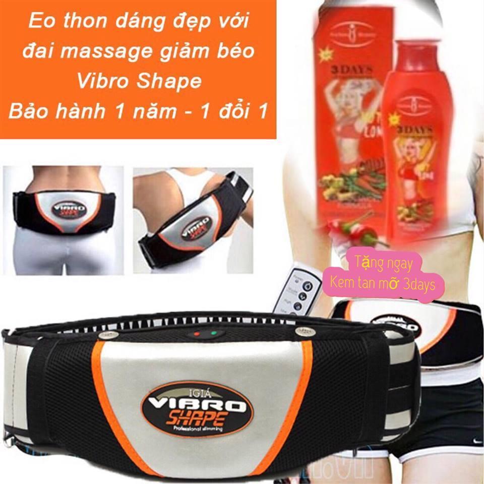 Đai Massage Nóng Và Rung giảm mỡ bụng hàng nhập khẩu new + tặng 1 kem tan mỡ nhập khẩu