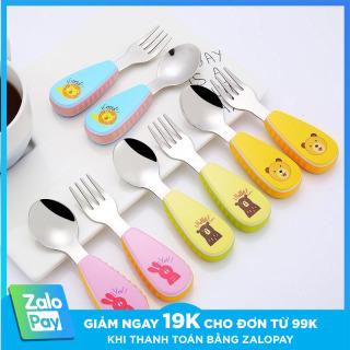 ( CÓ HỘP ) Bộ muỗng nĩa inox in hình thú đáng yêu cho bé tập xúc , bộ Thìa Dĩa cho bé tập ăn, chất liệu inox không gỉ, an tooàn cho bé, trợ ship toàn quốc, Tulifly Store thumbnail