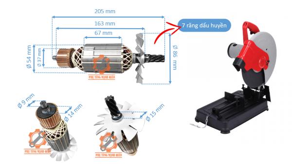 rotor máy cắt sắt ken 7614 tặng kèm đôi than cao cấp