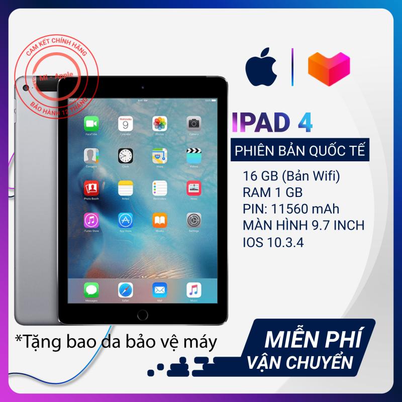 Máy tính bảng iPad 4 Quốc tế Tặng bao da cáp sạc Bảo hành 6 tháng 1 đổi 1 tại nhà trong 30 ngày