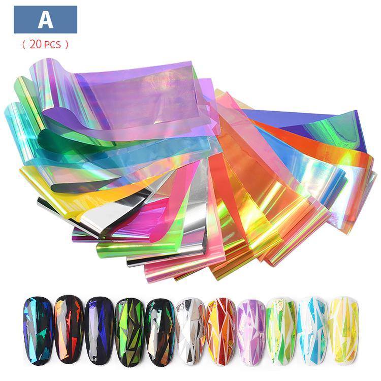 Set 10-20 tấm foil dán trang trí móng holographic 4 x 20cm chính hãng