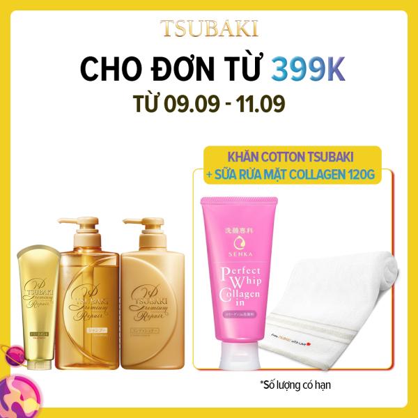 Bộ ba dầu gội - dầu xả - kem xả phục hồi ngăn rụng tóc Tsubaki Premium Repair