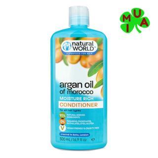Dầu xả phục hồi tóc hư tổn Natural World Argan UK 500ml thumbnail