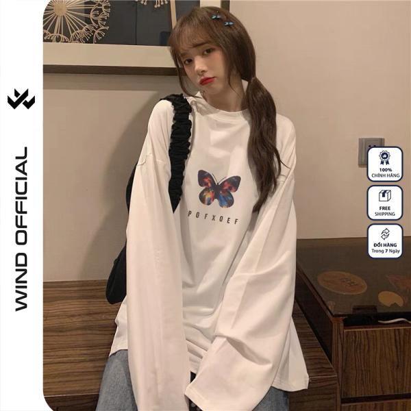 Áo thun tay dài WIND phông unisex form rộng POXFFF sweater nam nữ cotton oversize ulzzang