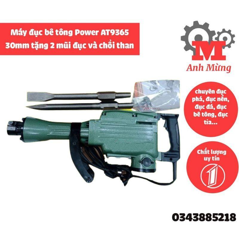 Máy đục bê tông Power AT9365 30mm động cơ khỏe, dễ sử dụng tặng 2 mũi đục và chổi than
