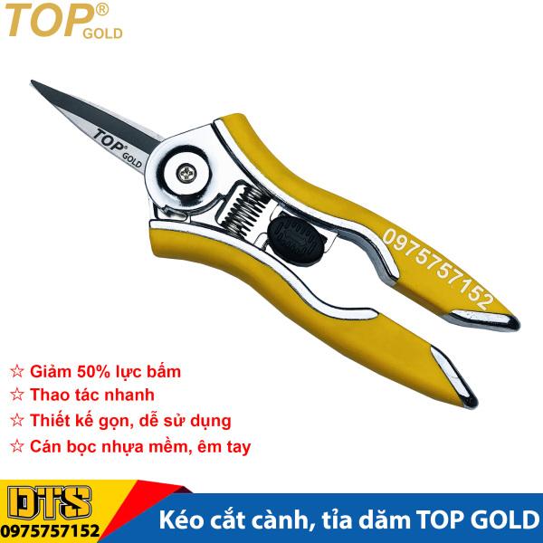 Kéo cắt cành, kéo tỉa dăm trợ lực TOP GOLD 6 inch/ 150mm, thép hợp kim cao cấp, thiết kế tối ưu tiết kiệm 50% lực bấm