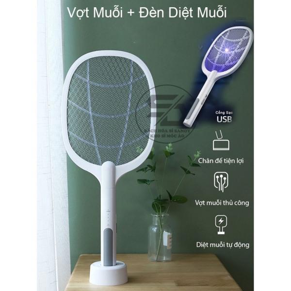 Vợt muỗi kiêm đèn bắt muỗi 2in1- Pin sạc cổng usb cao cấp 1200mah