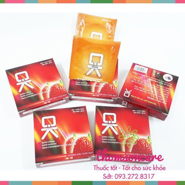Bao cao su Ok hương dâu - Giao hàng che tên, kín đáo, hộp 3 chiếc bcs condom mỏng cao cấp