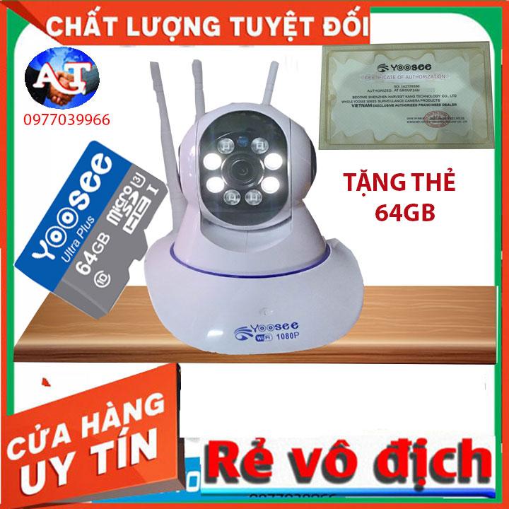[kèm thẻ nhớ 64gb]Camera IP Wifi Yoosee 3 Râu xoay 360 độ, độ phân giải FULL HD 2.0MP 1920x1080p Không Dây,Camera trong nhà,ngoài trời Camera hồng ngoại tích hợp ghi âm,lưu trữ dữ liệu