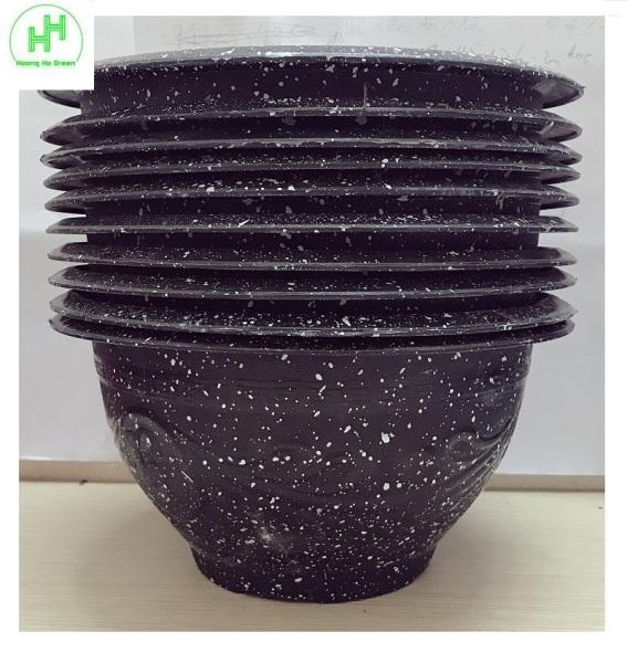 10 Chậu Nhựa Trồng Hoa, Cây Cảnh Giả Đá Đen Trường Hải T28