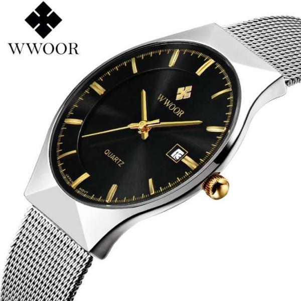 Đồng hồ nam WWOOR 8016 máy mỏng dây thép không gỉ (M Đen)