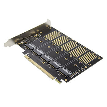 PCI-E X16 Adapter Card, JMB585 Chip M.2 Key B NVMe SSD Expansion Card NGFF Solid State Drive Adapter Card