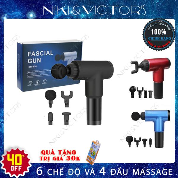 Máy massage cầm tay Fascial Gun KH-320, súng massage toàn thân 4 đầu đa năng