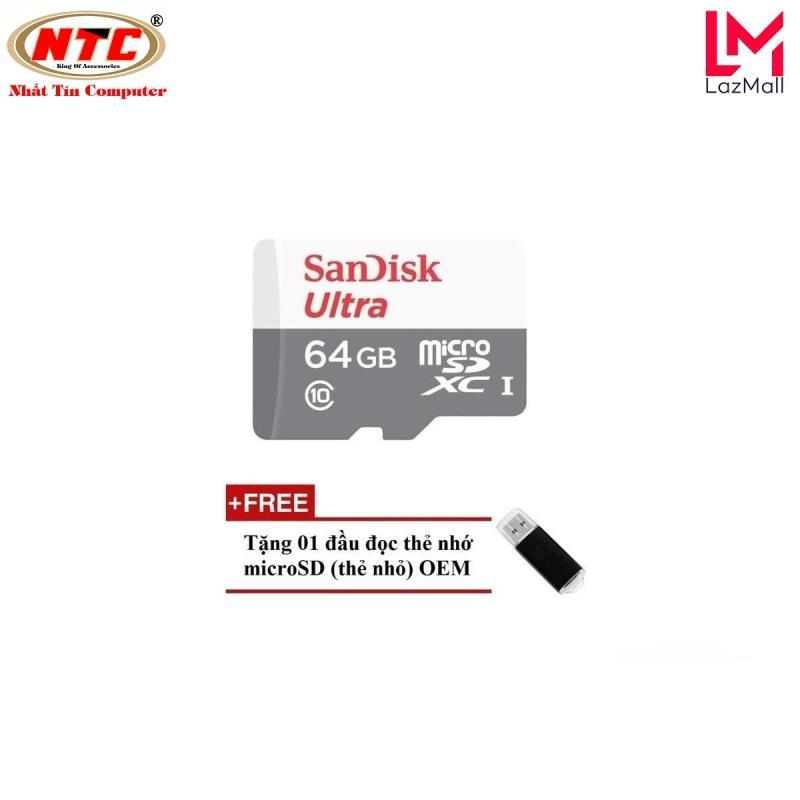 Thẻ nhớ MicroSDXC SanDisk Ultra 533X 64GB 80MB/s - Model 2017 (Trắng bạc) + Tặng kèm đầu đọc thẻ microSDHC