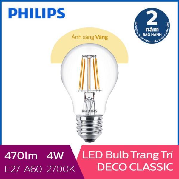 Bóng đèn Philips LED Classic 4W 2700K E27 A60 (Ánh sáng vàng)