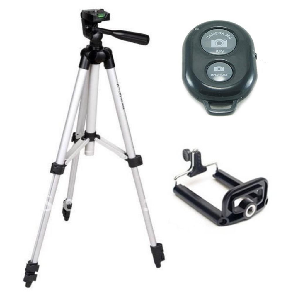 Bộ 1 Tripod chân chụp ảnh + 1 giá đỡ điện thoại + 1 Remote -  (Xám bạc)