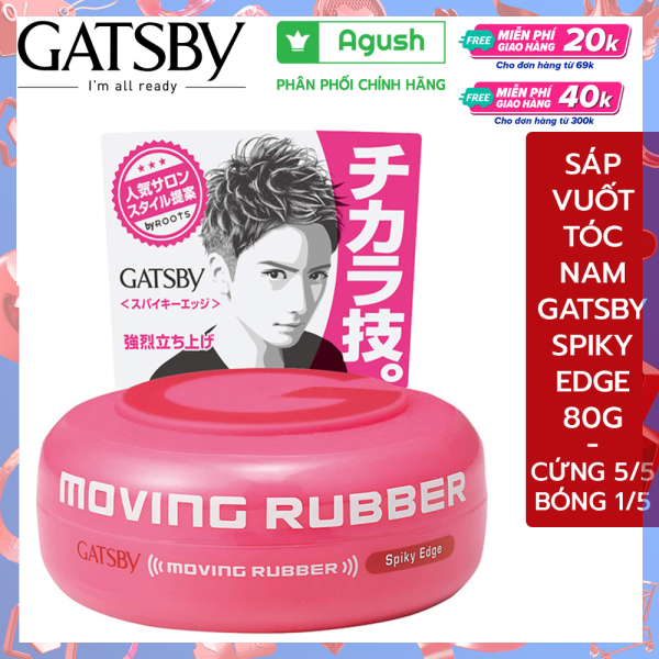 Sáp vuốt tóc nam cao cấp Gatsby Moving Rubber Spiky Edge màu hồng 80G ít bóng siêu cứng giữ nếp lâu thơm mùi trái cây nhập khẩu