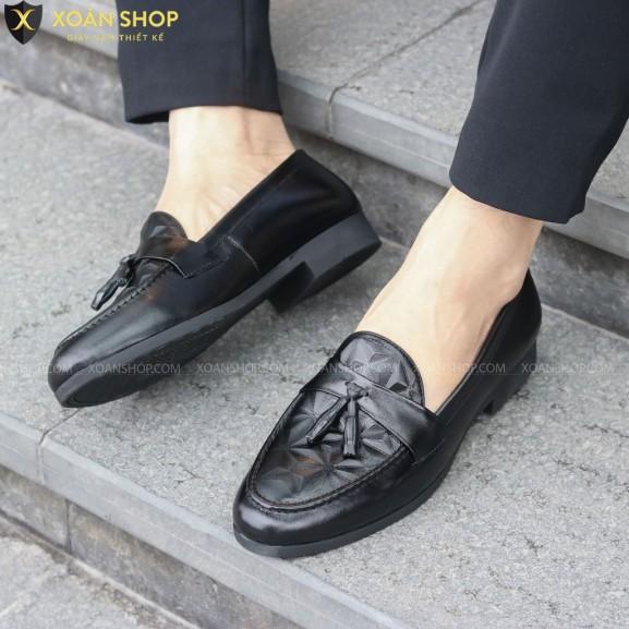( FREESHIP) Giày lười nam chất liệu da MỀM 3D Xoăn Shop Mã G012 chuông. giá rẻ