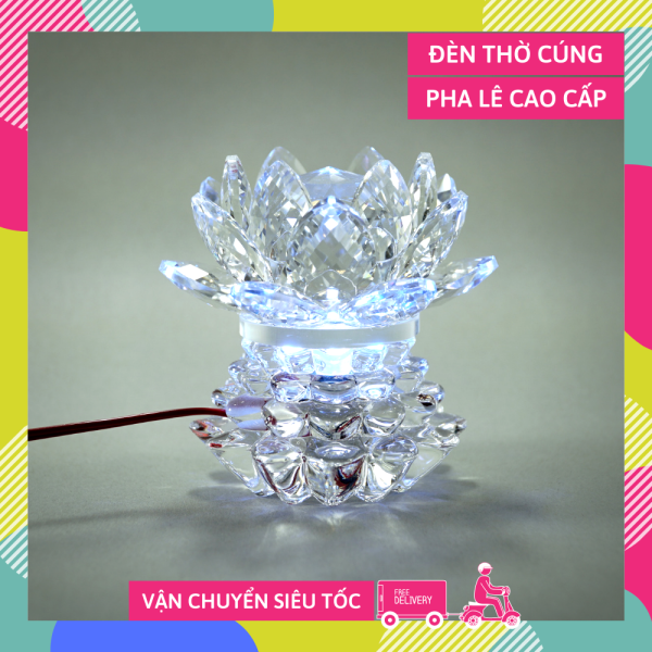 Đèn thờ điện pha lê nguyên khối hoa sen đèn thờ Phật led đổi màu trụ bông tầng cao cấp - Cao 10cm