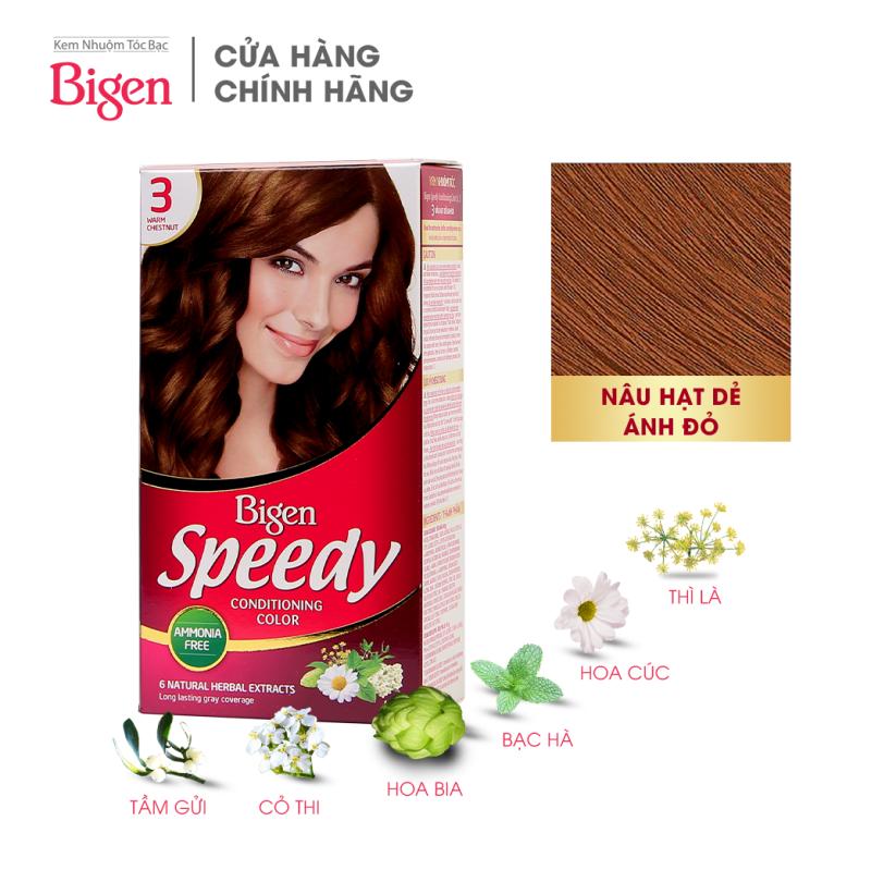Thuốc nhuộm dưỡng tóc phủ bạc thảo dược Bigen Speedy Thương hiệu Nhật Bản 80ml dạng kem - Nâu Hạt Dẻ Ánh Đỏ 3 nhập khẩu