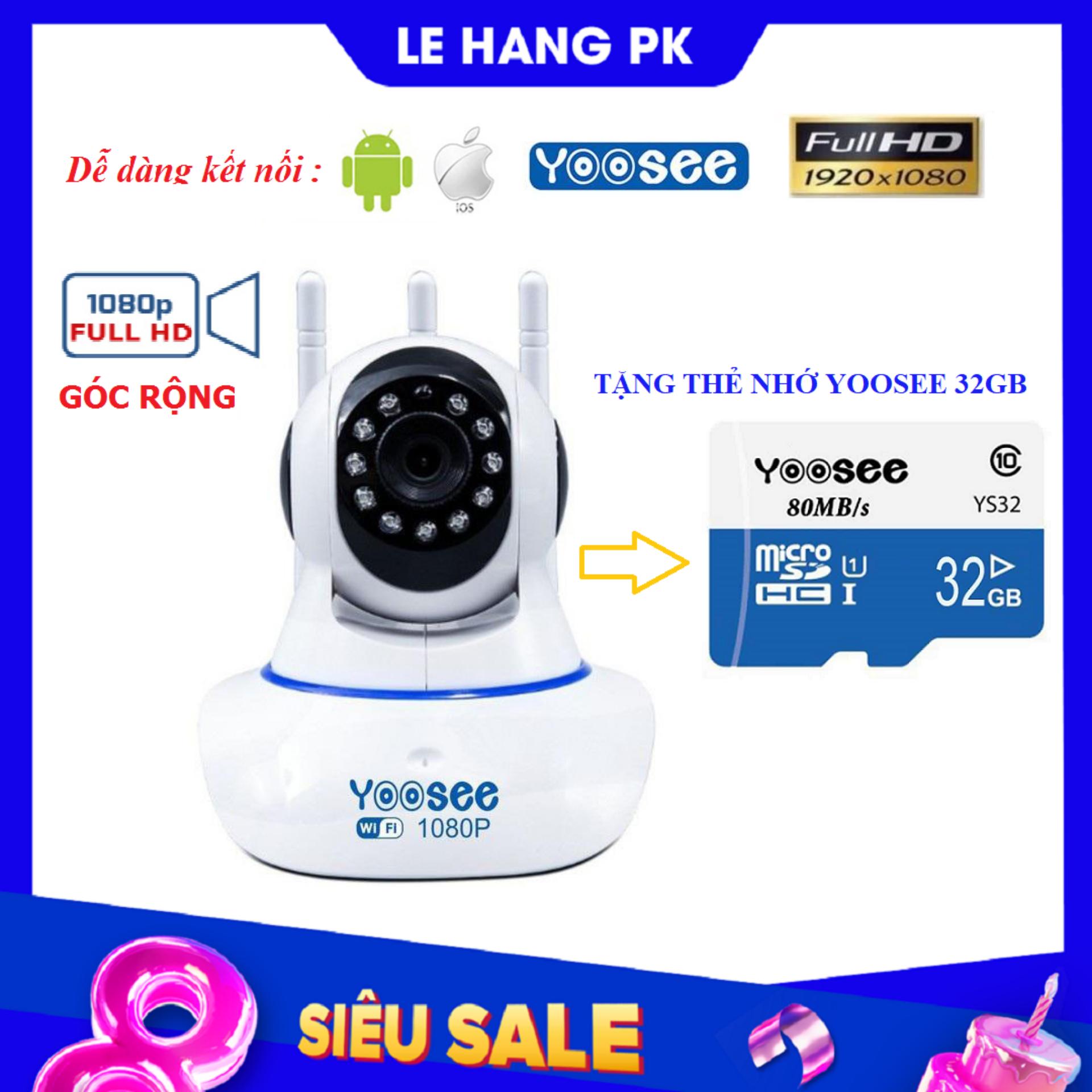 (KÈM Thẻ Nhớ SD YOOSEE 32 GB) Camera IP Wifi Yoosee 3 Râu xoay 360 độ, độ phân giải FULL FHD 2.0MP 1920x1080p Không Dây,Camera trong nhà,ngoài trời Camera hồng ngoại tích hợp ghi âm,lưu trữ dữ liệu