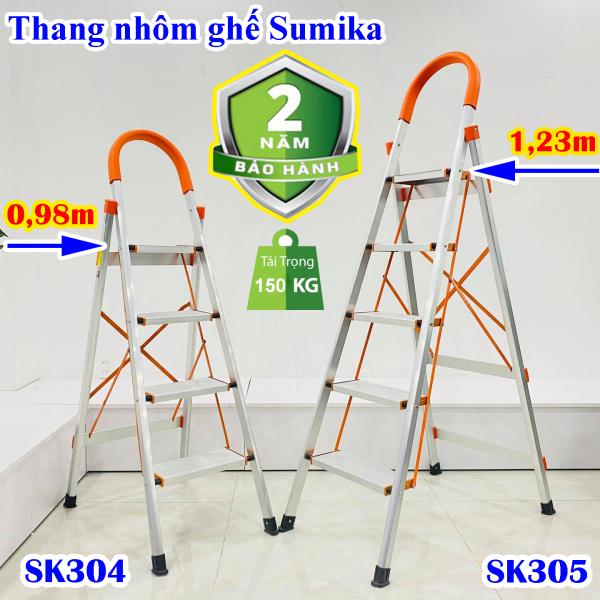 Thang nhôm ghế 4 bậc, 5 bậc Sumika SK304, SK305 tải trọng 150kg