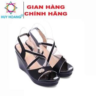 Giày nữ thời trang Huy Hoàng đế xuồng màu đen HK7066