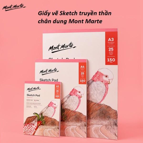 GIấy vẽ sổ vẽ Sketchbook truyền thần Mont Marte, chân dung ngành kiến trúc mỹ thuật -Lalunavn- A04