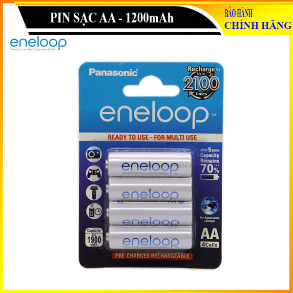Vỉ 04 viên pin sạc AA 1900mAh, Pin sạc lại 2100 lần - ENELOOP AA-1900 (Hàng chuẩn)