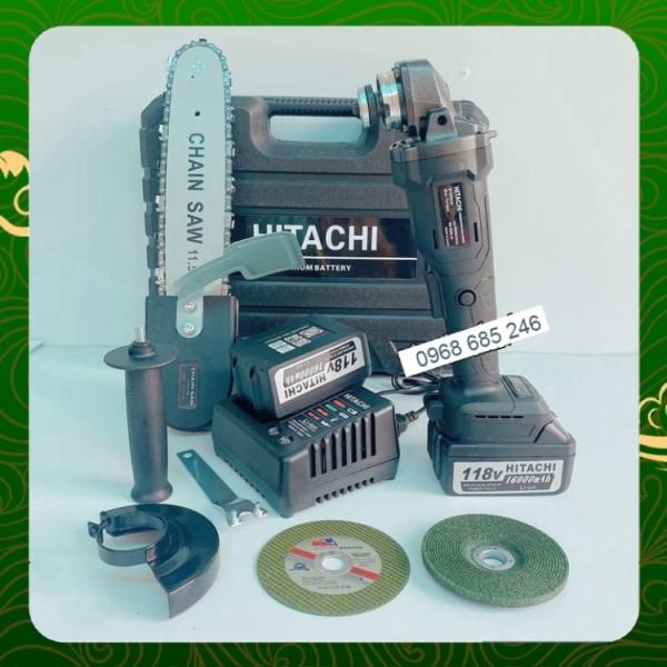 Máy mài cầm tay pin Hitachi 118V không chổi than - 20000mAh - 2 PIN - TẶNG LƯỠI CƯA XÍCH CẮT GỖ, ĐÁ MÀI, ĐÁ CẮT _ Nhật V
