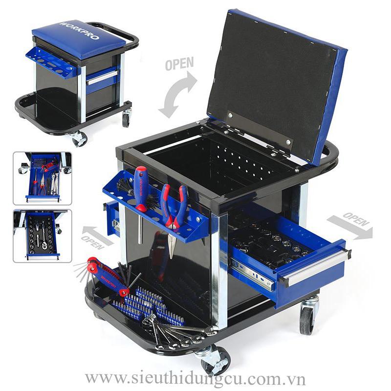 Xe đẩy dụng cụ có ghế 136 chi tiết WORKPRO W009039