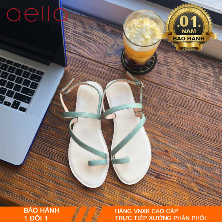 Sandal nữ đi học đế thấp AELLA401 - Dép sandal xỏ ngón đầy cá tính giá rẻ