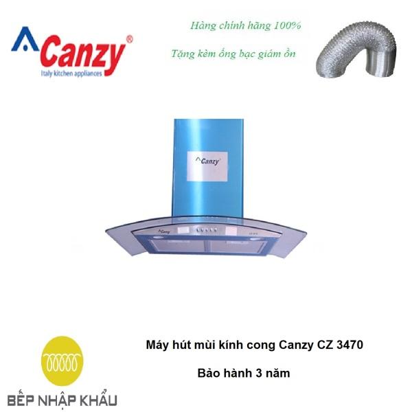 Máy hút mùi kính cong Canzy CZ 3470, được thiết kế tinh tế, hiện đại, làm từ chất liệu hợp kim cao cấp, chống va đập, khử mùi tuyệt đối