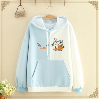 Áo khoác hoodie nữ phối màu siêu lạ in hình thỏ con ôm cà rốt siêu xinh , chất nỉ bông dày dặn thumbnail