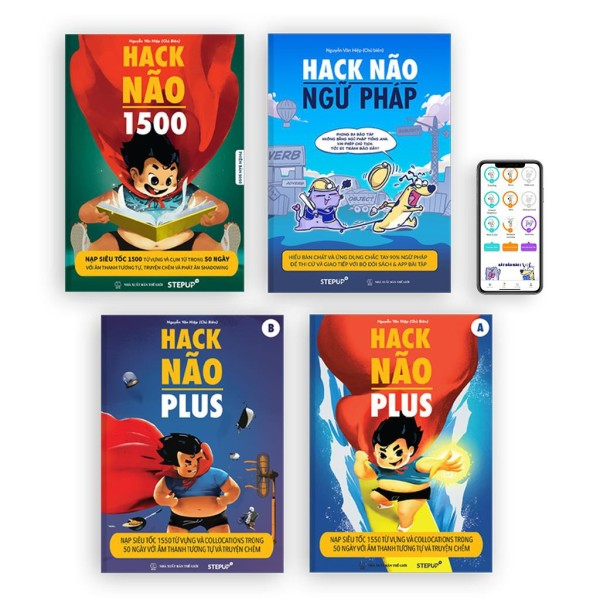 Mua Combo 4 sách Hack Não 1500 + Hack Não Plus A, B + Hack Não Ngữ Pháp + Tặng App học phát âm và luyện tập ngữ pháp miễn phí