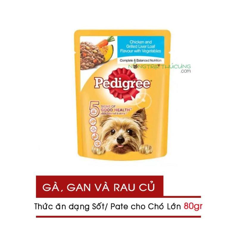 Gói Pate/ Sốt cho Chó Lớn Pedigree 80gr - Vị Gà, Gan và Rau - [Nông Trại Thú Cưng]
