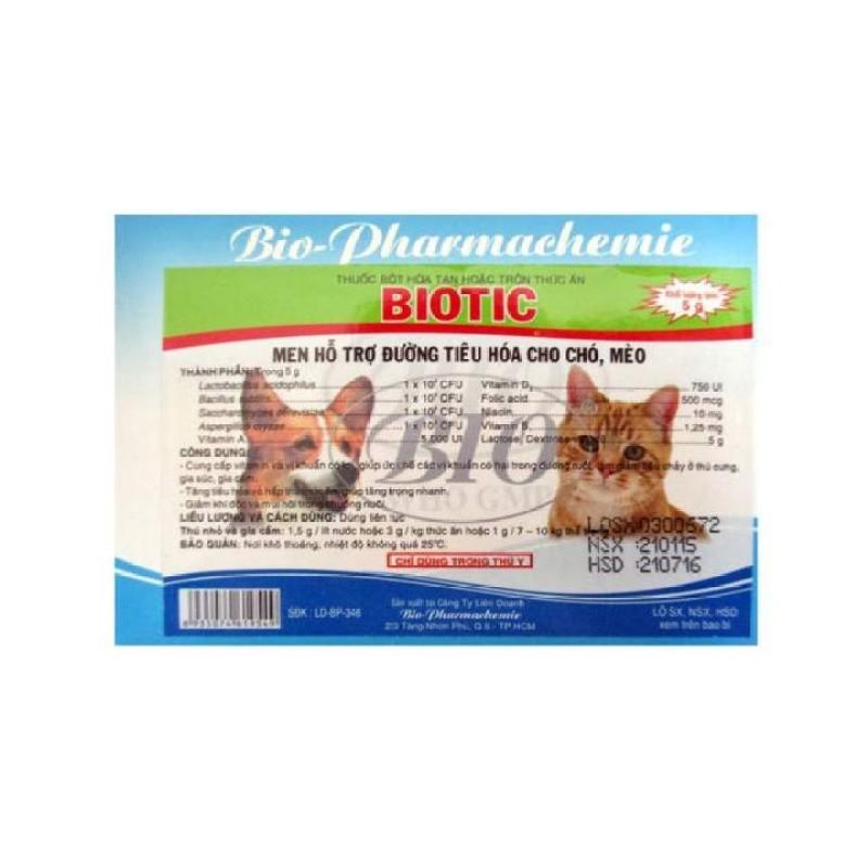 Gói Men tiêu hóa thức ăn cho chó trị phân sống, phân lỏng cho chó mèo Biotic-gói 5g