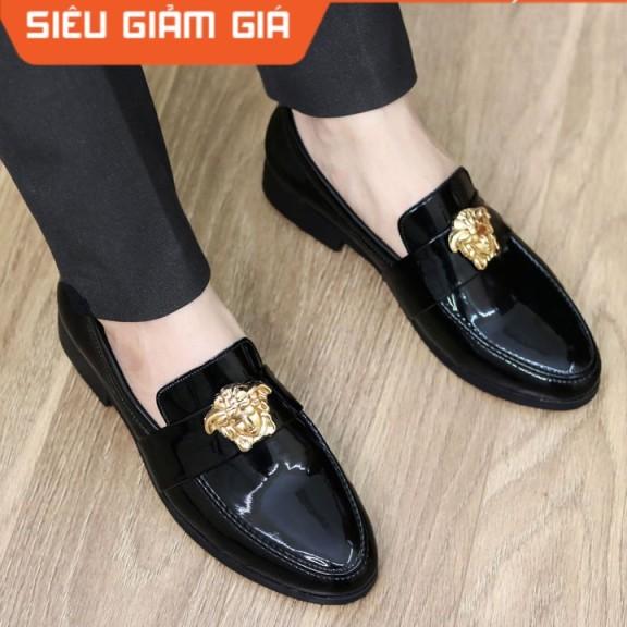 Giày Lười Nam Da Lì Đế Cao Su Đúc Mã L182 Màu Đen giá rẻ