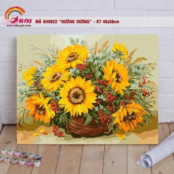 Tranh sơn dầu số hóa DIY tự tô màu các loại hoa - Mã BH0622 Lọ hoa Hướng dương Tranh Trang trí hiện đại Làm quà tặng và Giảm Stress