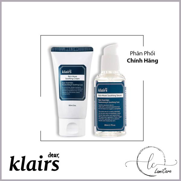 Bộ 2 sản phẩm cấp nước chuyên sâu chống oxy hoá Klairs rich moist soothing serum and cream full size