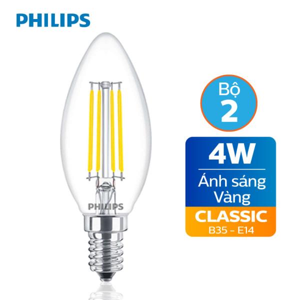 Bảng giá Bộ 2 bóng đèn Philips LED Classic 4W E14 B35 3000K - Ánh sáng vàng