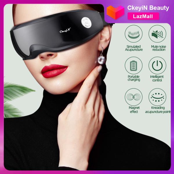 CkeyiN Máy mát xa mắt bằng điện với 22 đầu massage và cảm ứng thông minh để giảm khô giảm nếp nhăn và mỏi cho mắt, sử dùng trong nhà, văn phòng, lớp học v.v. AM280